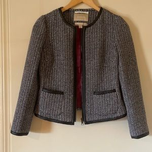 Banana Republic Tweed Leather Zipper Jacket